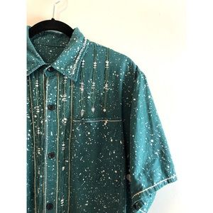 Other - Unique acid drip embroidery button down